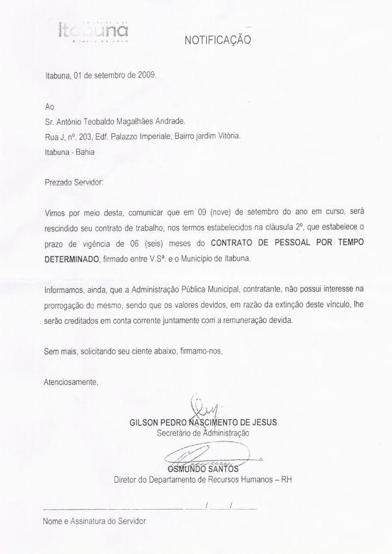 Ofício comunica a rescisão do contrato
